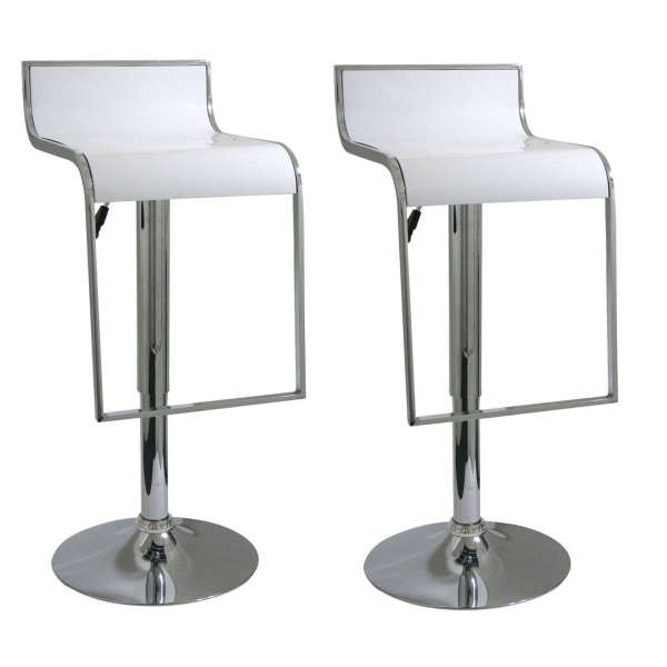AmeriHome 2 Piece Bar Stool Set- White