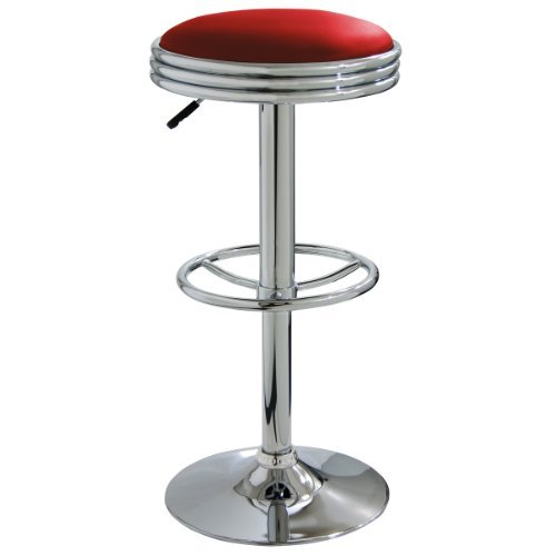 AmeriHome Soda Fountain Style Bar Stool - Red