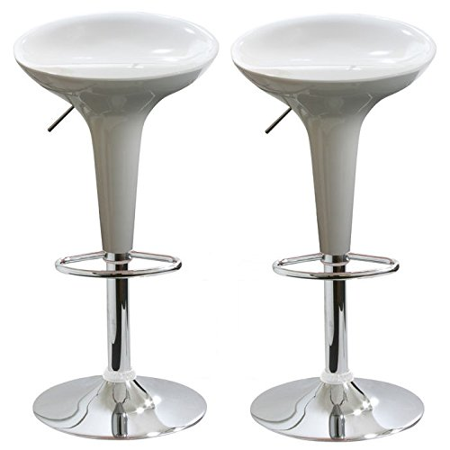 AmeriHome 2 Piece Bar Stool Set - White