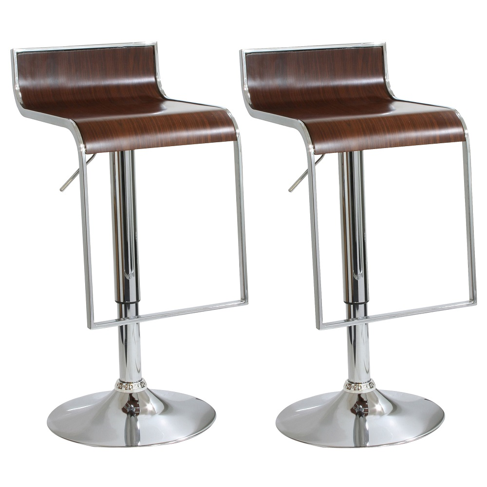 AmeriHome 2 Piece Wood Finish Bar Stool Set