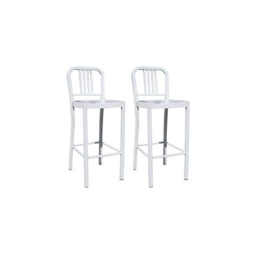 AmeriHome 2 Piece Metal Counter Height Chair Set - White