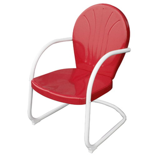 AmeriHome Retro Style Metal Lawn Chair - Red