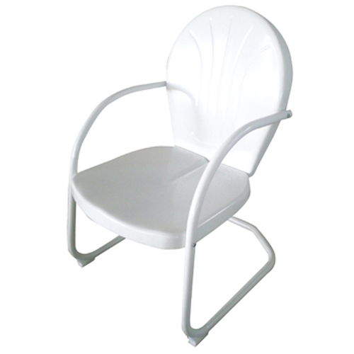AmeriHome Retro Style Metal Lawn Chair - White