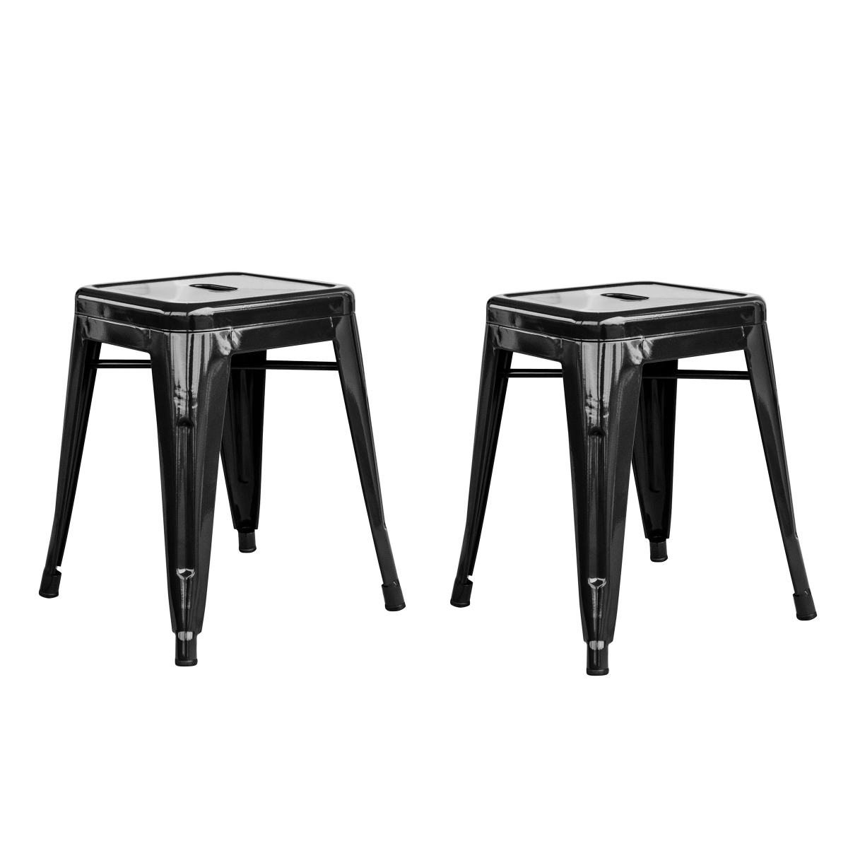 Loft Black 18 Inch Metal Bar Stool - 2 Piece
