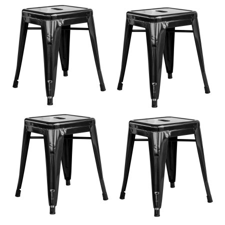 Loft Black 18 Inch Metal Bar Stool - 4 Piece