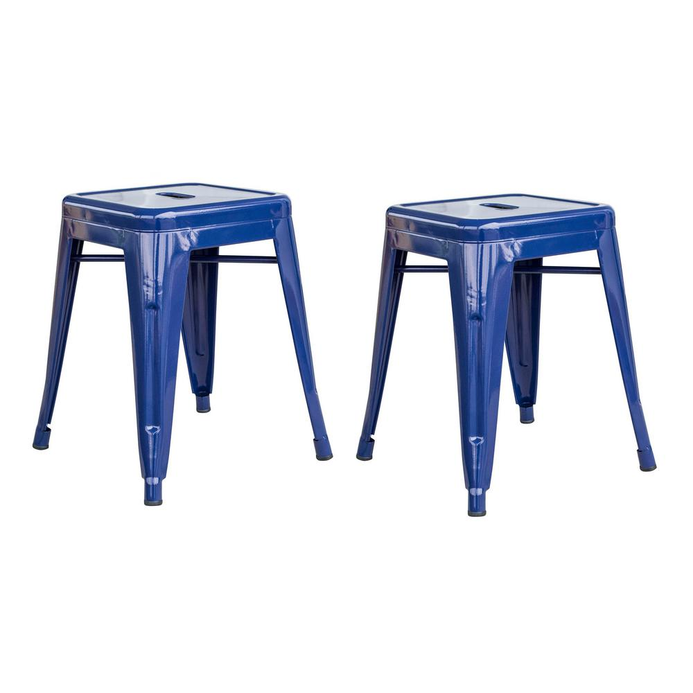 Loft Blue 18 Inch Metal Bar Stool - 2 Piece