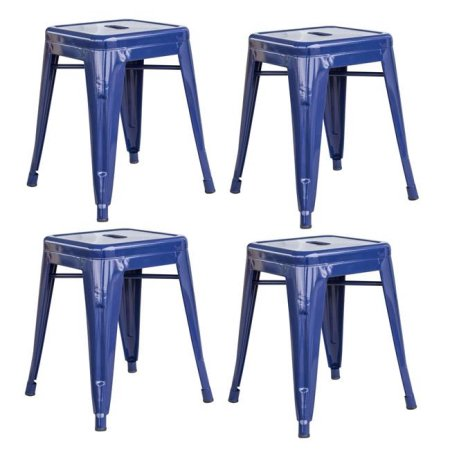 Loft Blue 18 Inch Metal Bar Stool - 4 Piece