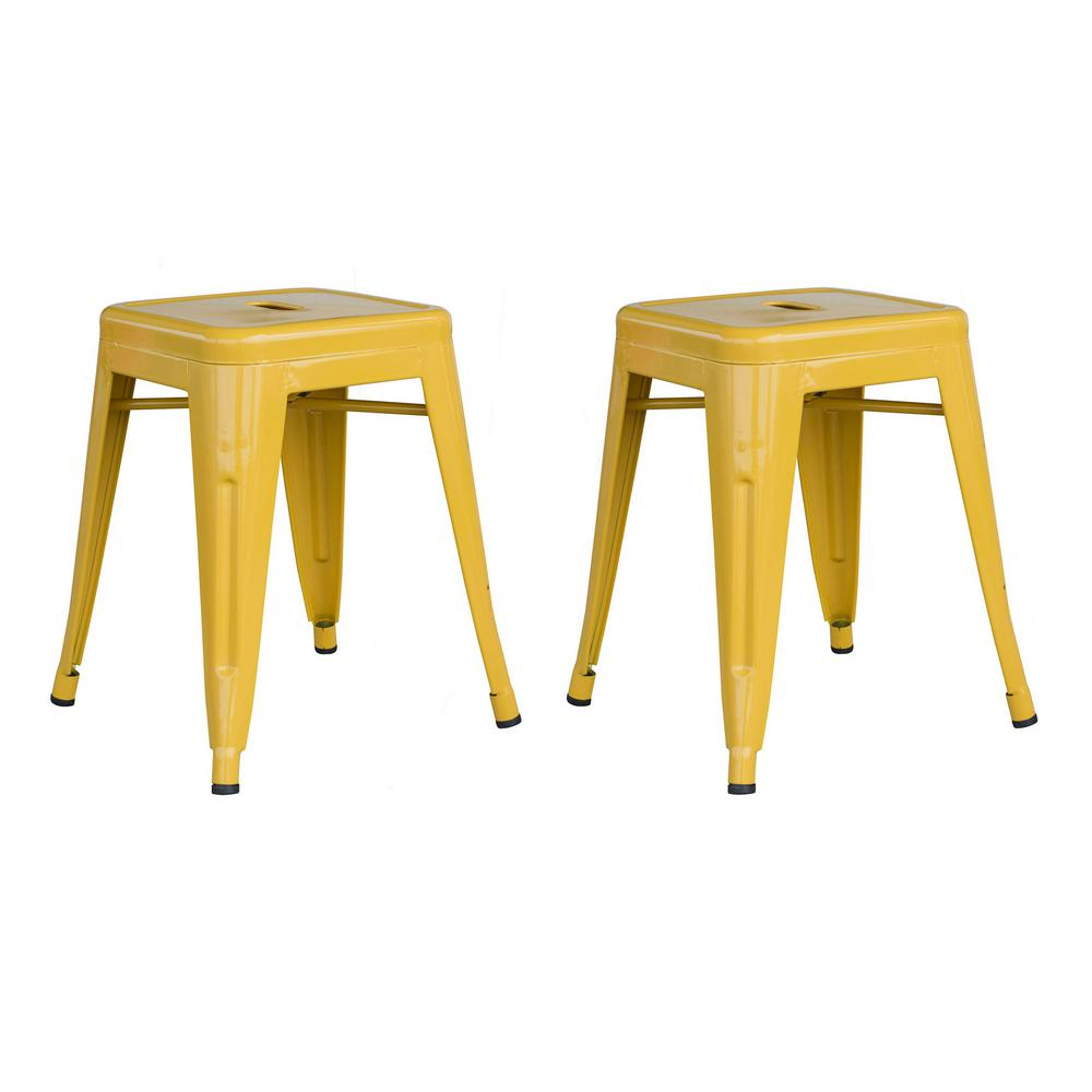 Loft Gold 18 Inch Metal Bar Stool - 2 Piece
