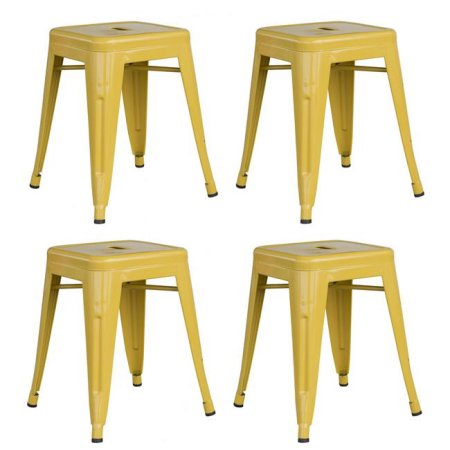 Loft Gold 18 Inch Metal Bar Stool - 4 Piece