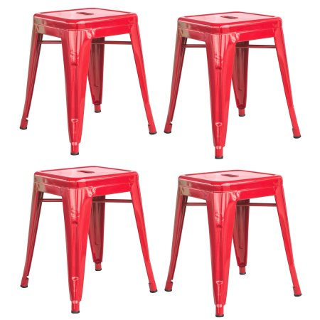 Loft Red 18 Inch Metal Bar Stool - 4 Piece