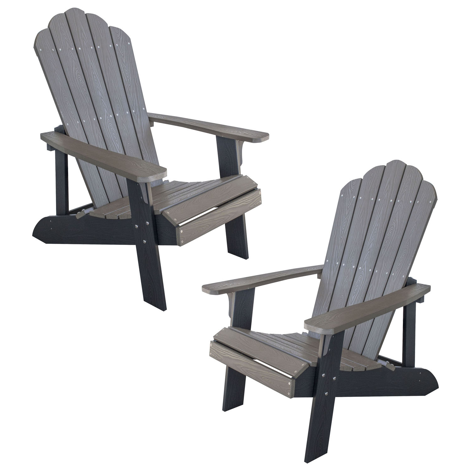 Simulated Wood Outdoor Two Tone Adirondack Chair, Driftwood with Black Accents, 2 Piece Set