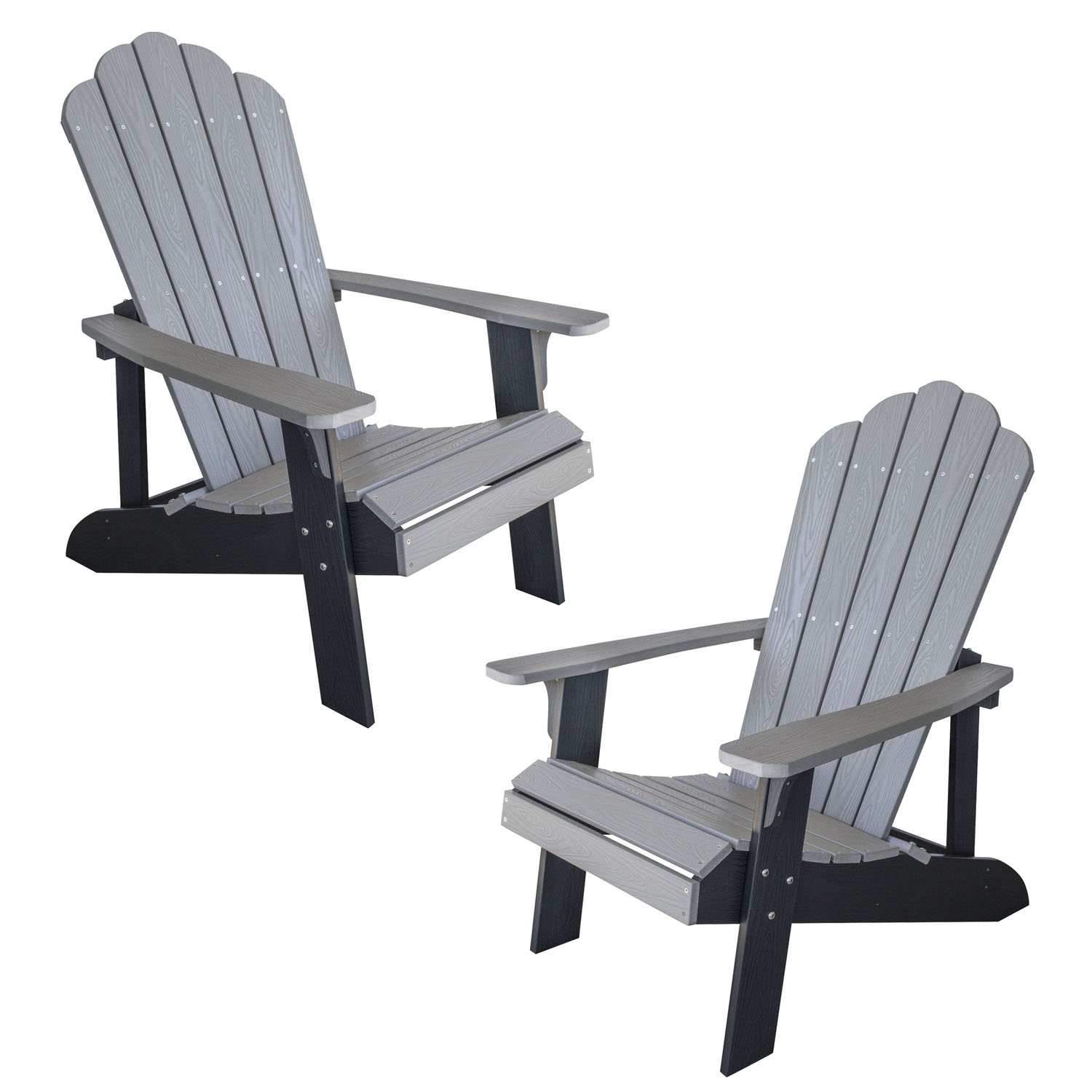 Simulated Wood Outdoor Two Tone Adirondack Chair, Gray with Black Accents, 2 Piece Set