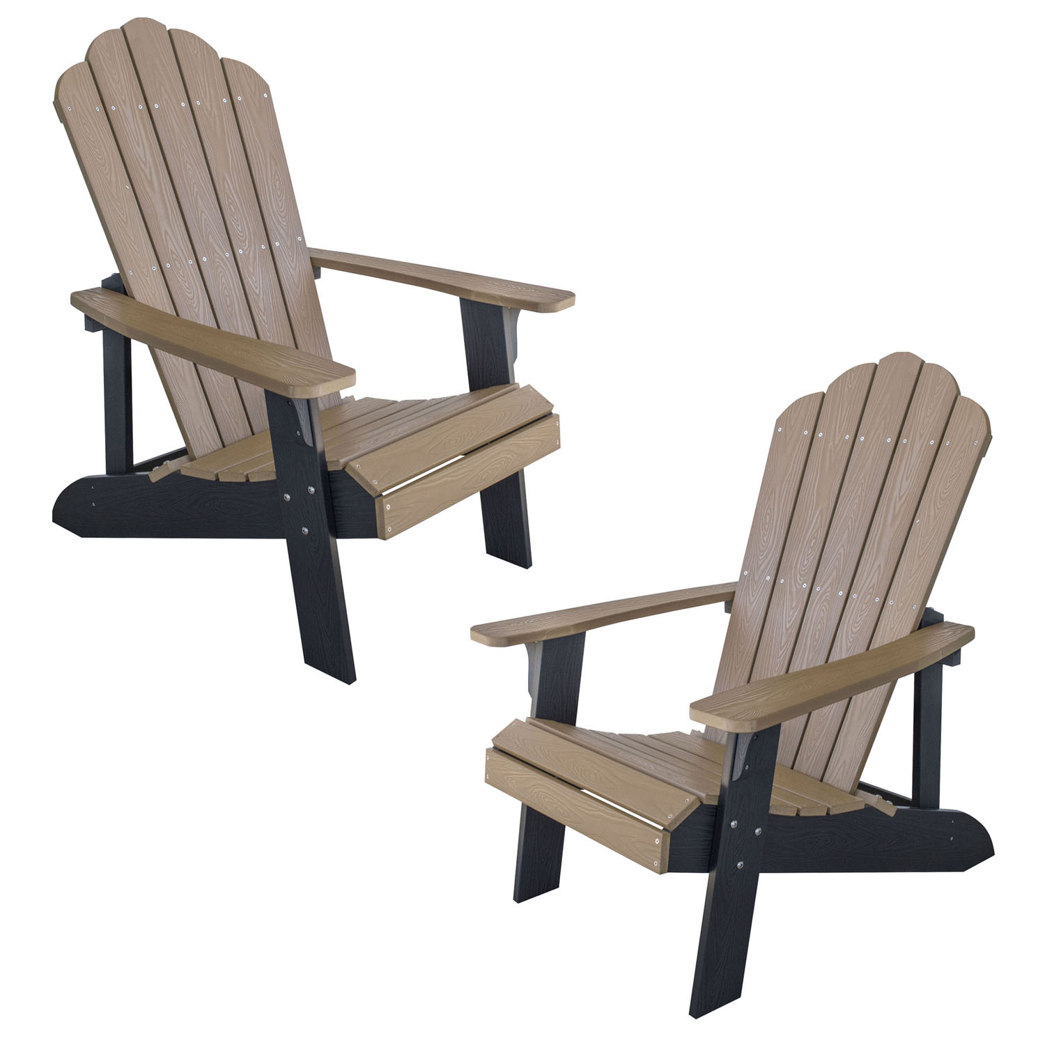 Simulated Wood Outdoor Two Tone Adirondack Chair, Tan with Black Accents, 2 Piece Set