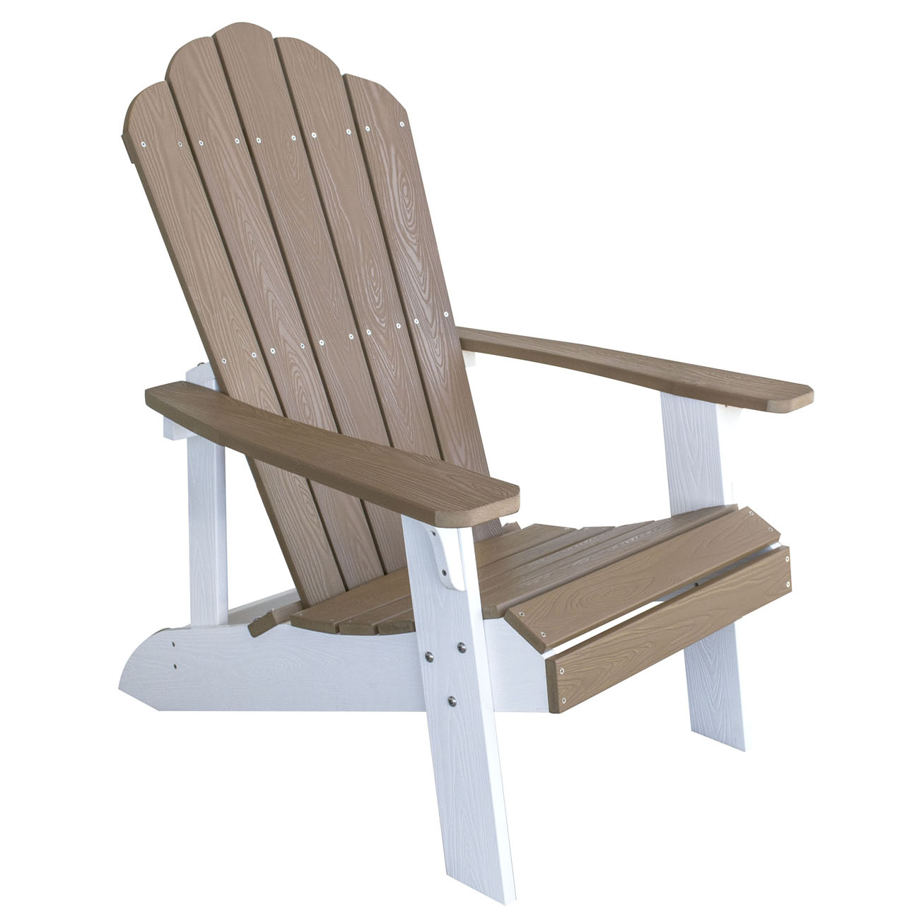 Outdoor Two Tone Adirondack Chair with Durable Simulated Wood Construction - Tan with White Accents