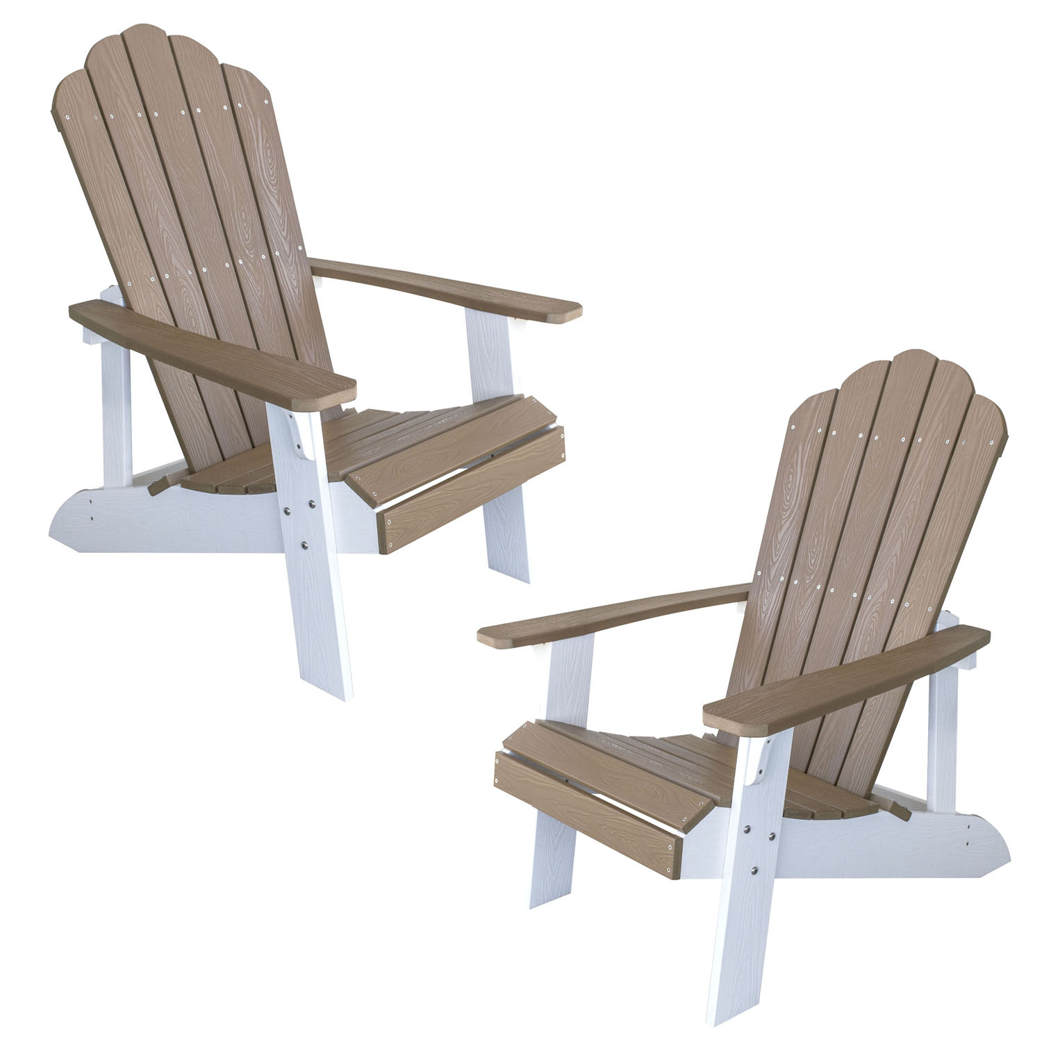 Simulated Wood Outdoor Two Tone Adirondack Chair, Tan with White Accents, 2 Piece Set