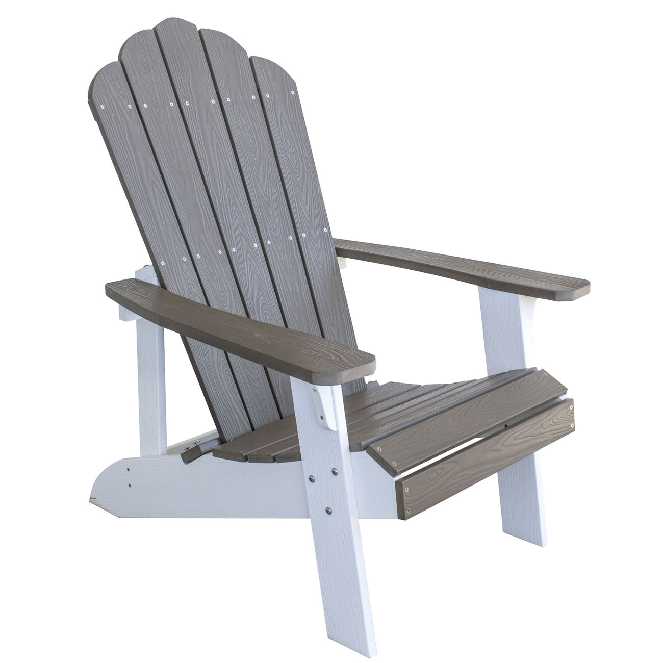 Outdoor Two Tone Adirondack Chair with Durable Simulated Wood Construction - Driftwood with White Accents