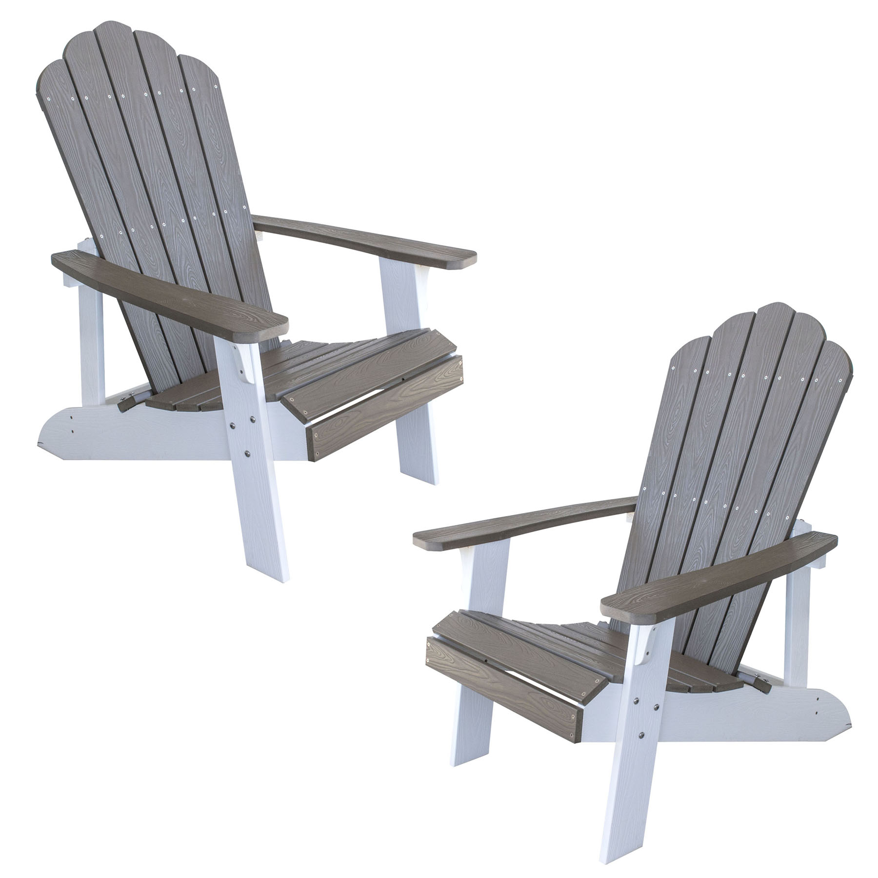 Simulated Wood Outdoor Two Tone Adirondack Chair, Driftwood with White Accents, 2 Piece Set
