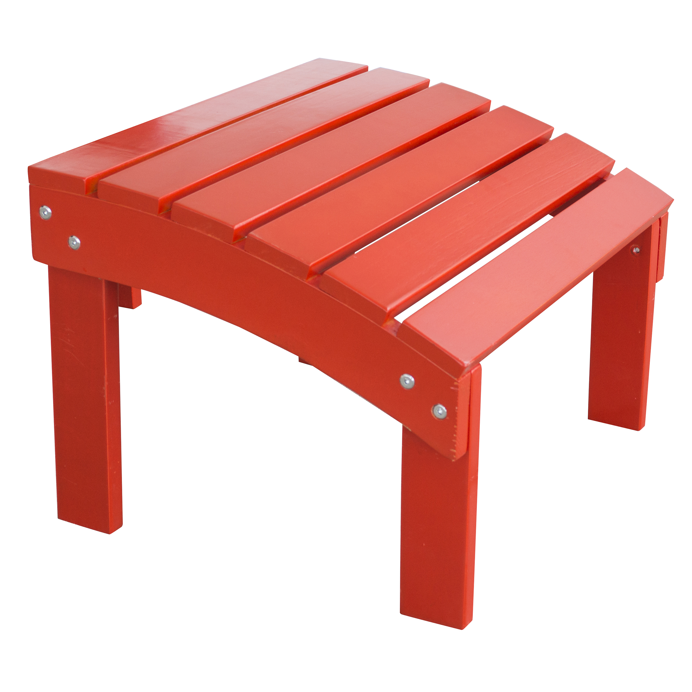 Solid Wood Adirondack Footrest Ottoman with Painted Finish - Red