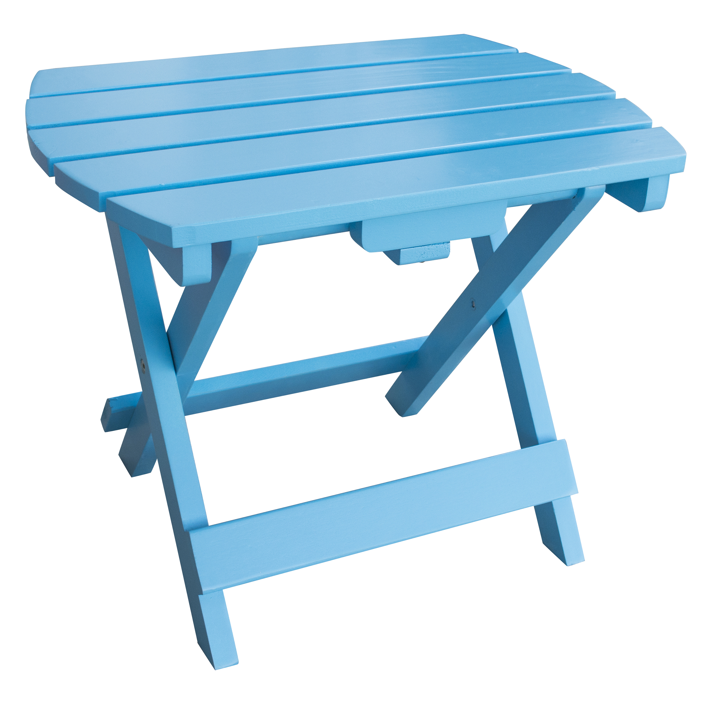 Solid Wood Adirondack Folding Side Table with Painted Finish - Aruba Blue
