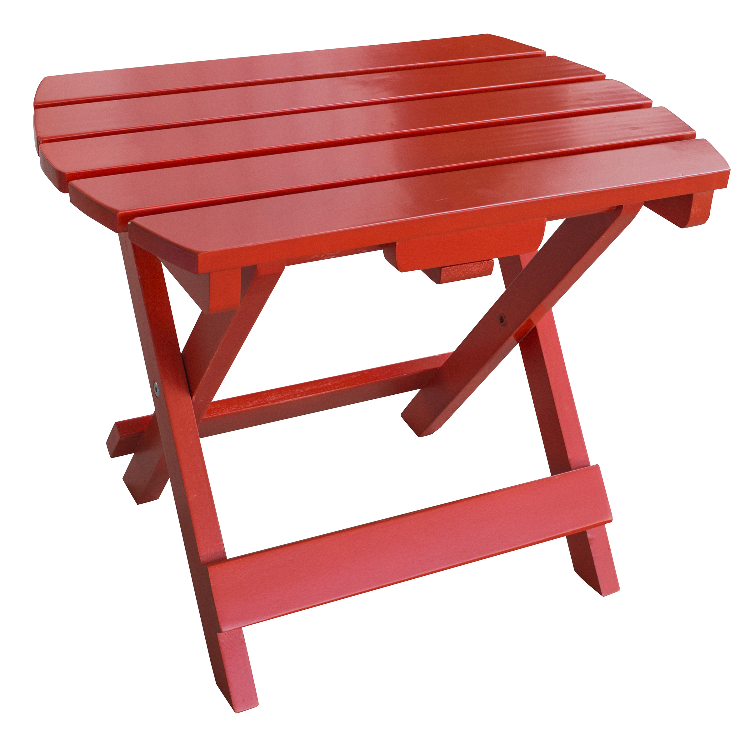 Solid Wood Adirondack Folding Side Table with Painted Finish - Red