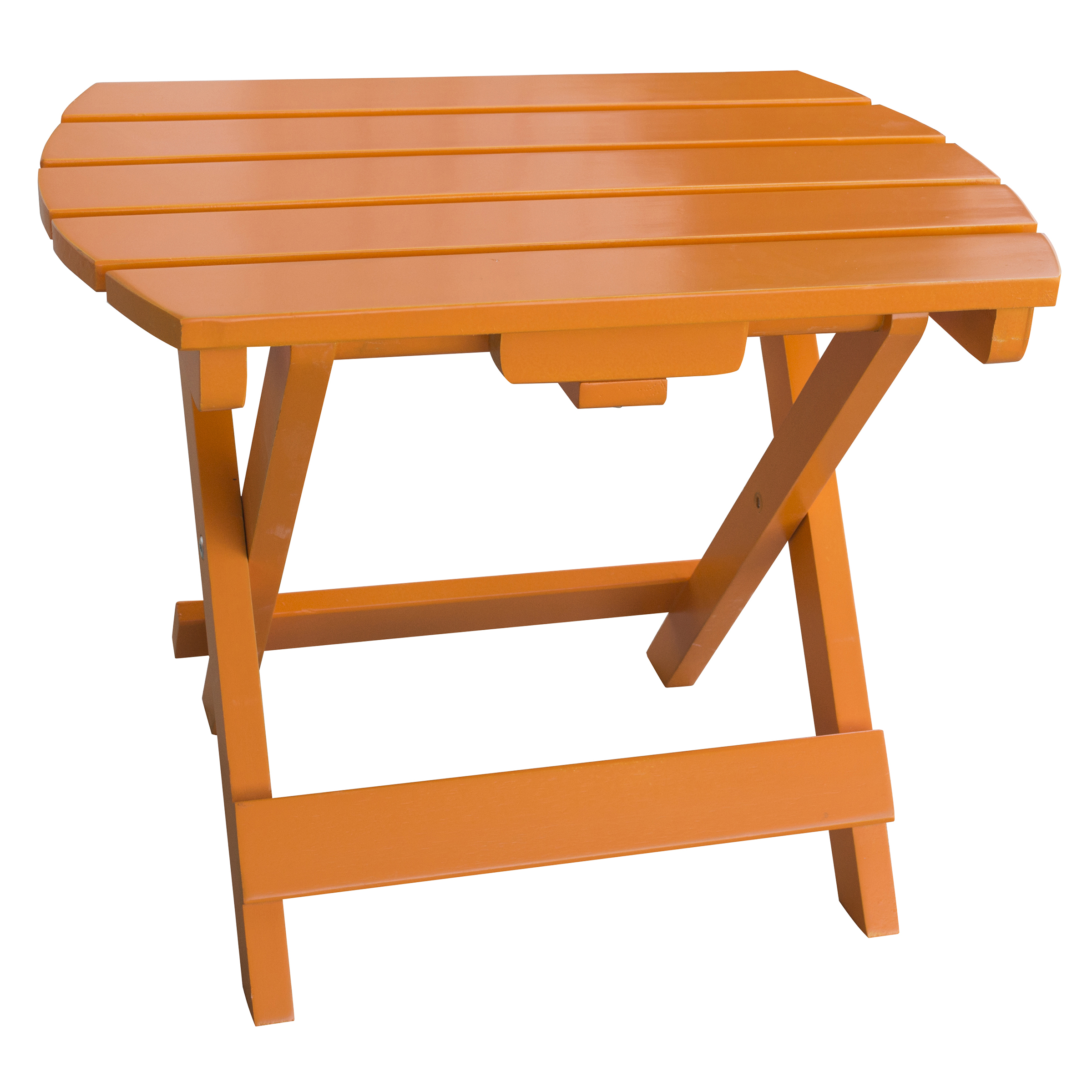 Solid Wood Adirondack Folding Side Table with Painted Finish - Tangerine