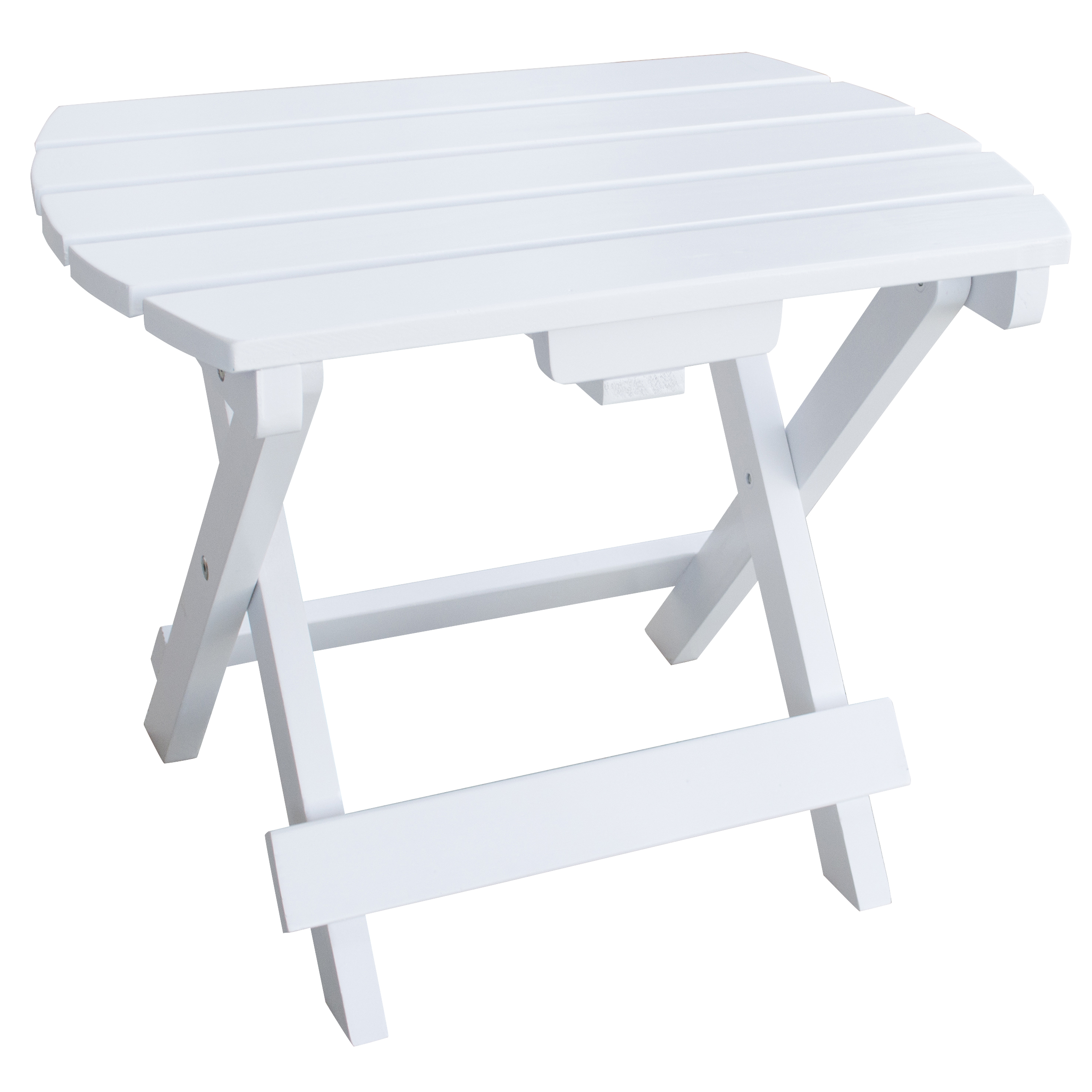 Solid Wood Adirondack Folding Side Table with Painted Finish - White