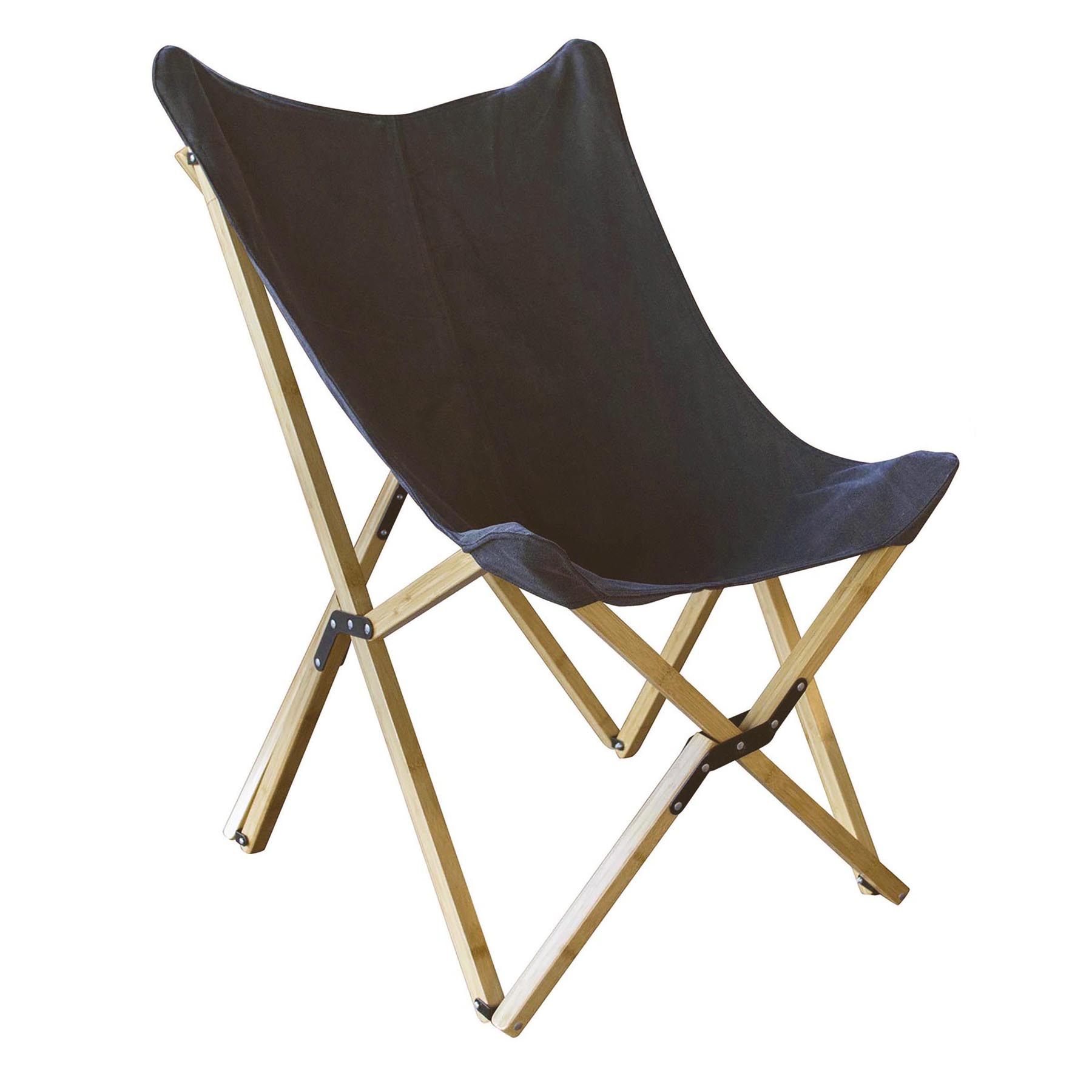 Canvas and Bamboo Butterfly Chair - Black