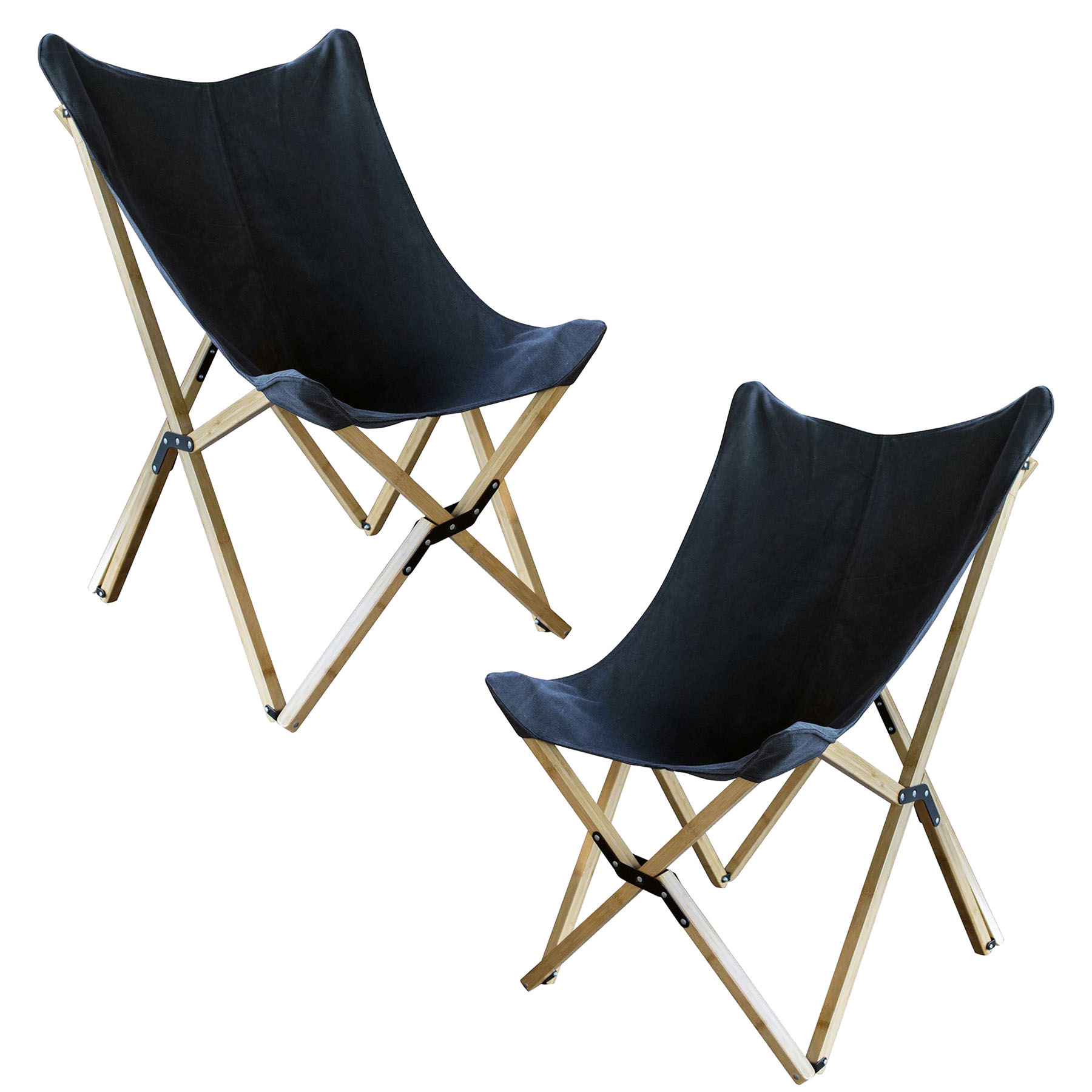 Canvas and Bamboo Butterfly Chair - Black - 2 Piece Set