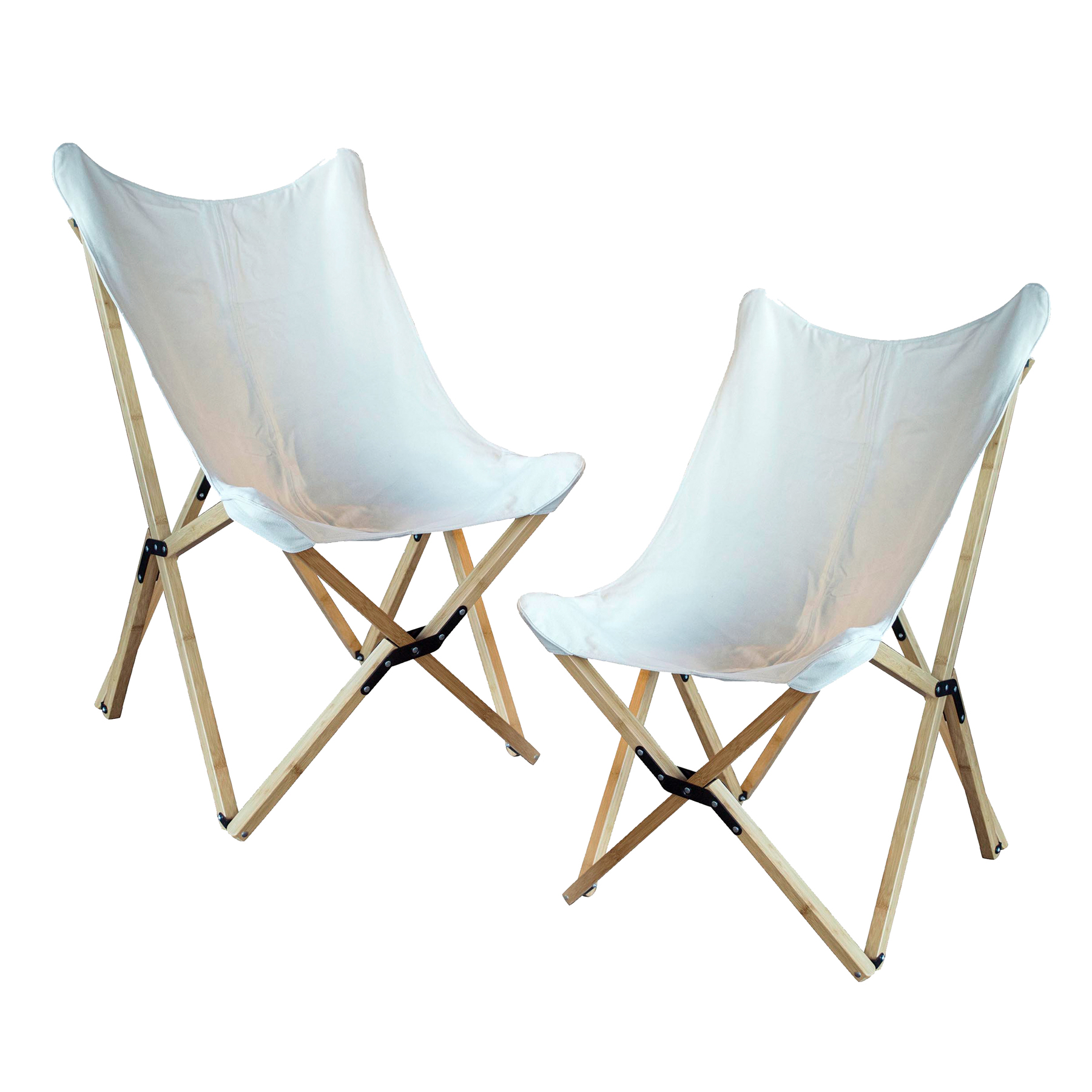 Canvas and Bamboo Butterfly Chair - White - 2 Piece Set