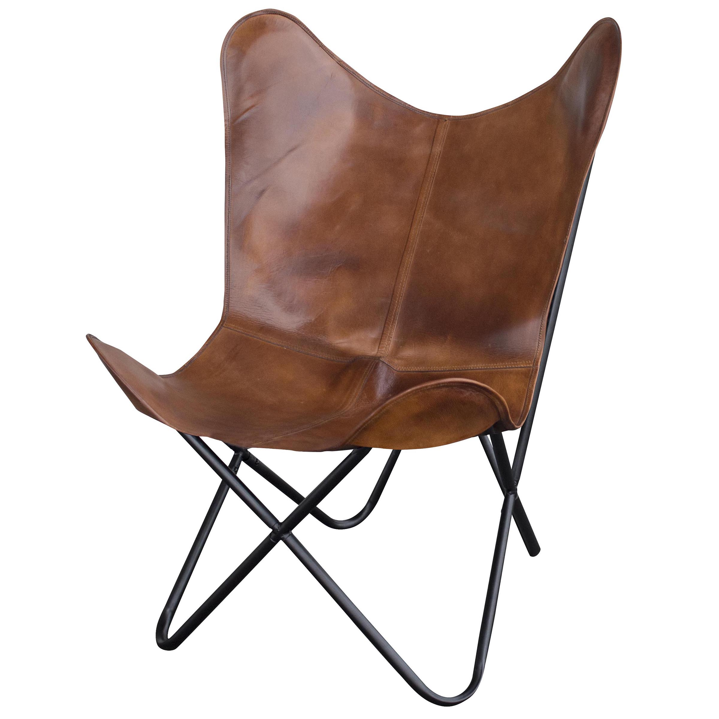 Leather Butterfly Chair in Natural Tan