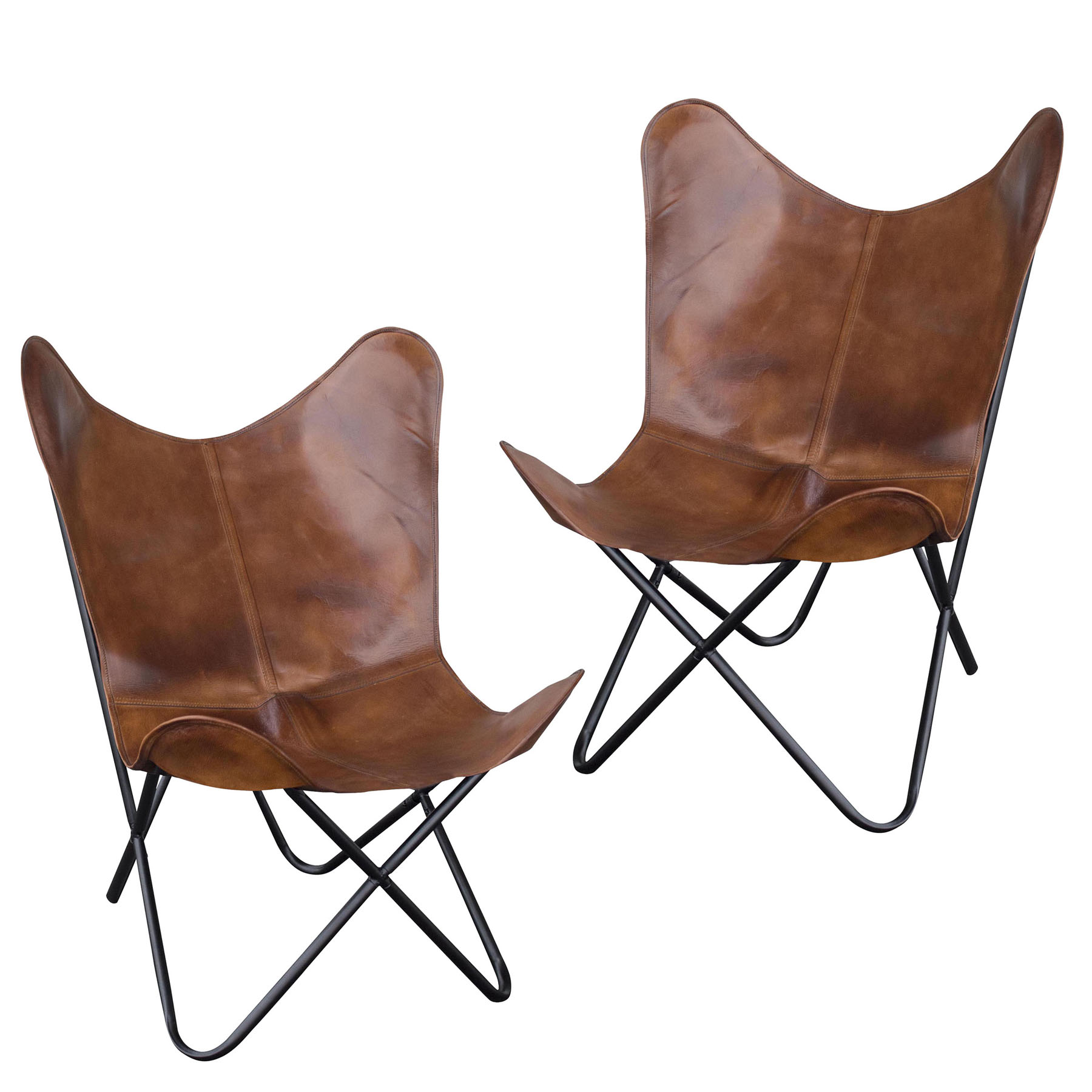 Leather Butterfly Chair in Natural Tan, 2 Piece Set