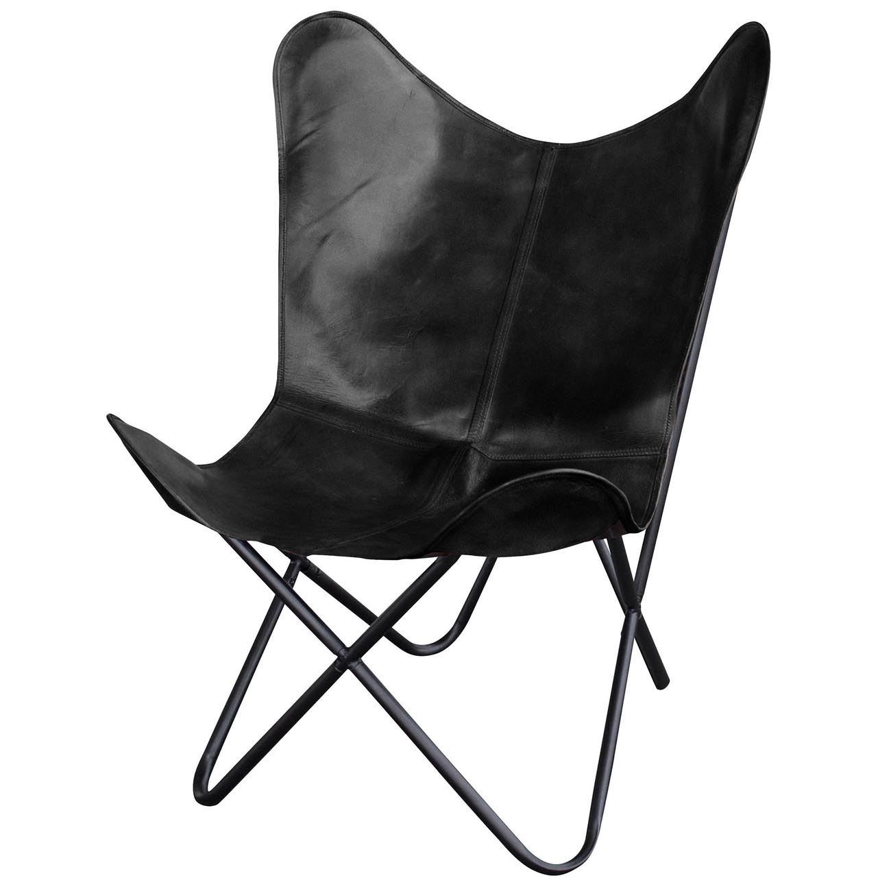 Natural Leather Butterfly Chair in Black
