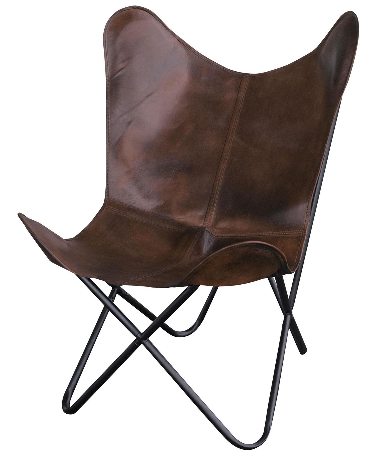 Natural Leather Butterfly Chair in Brown