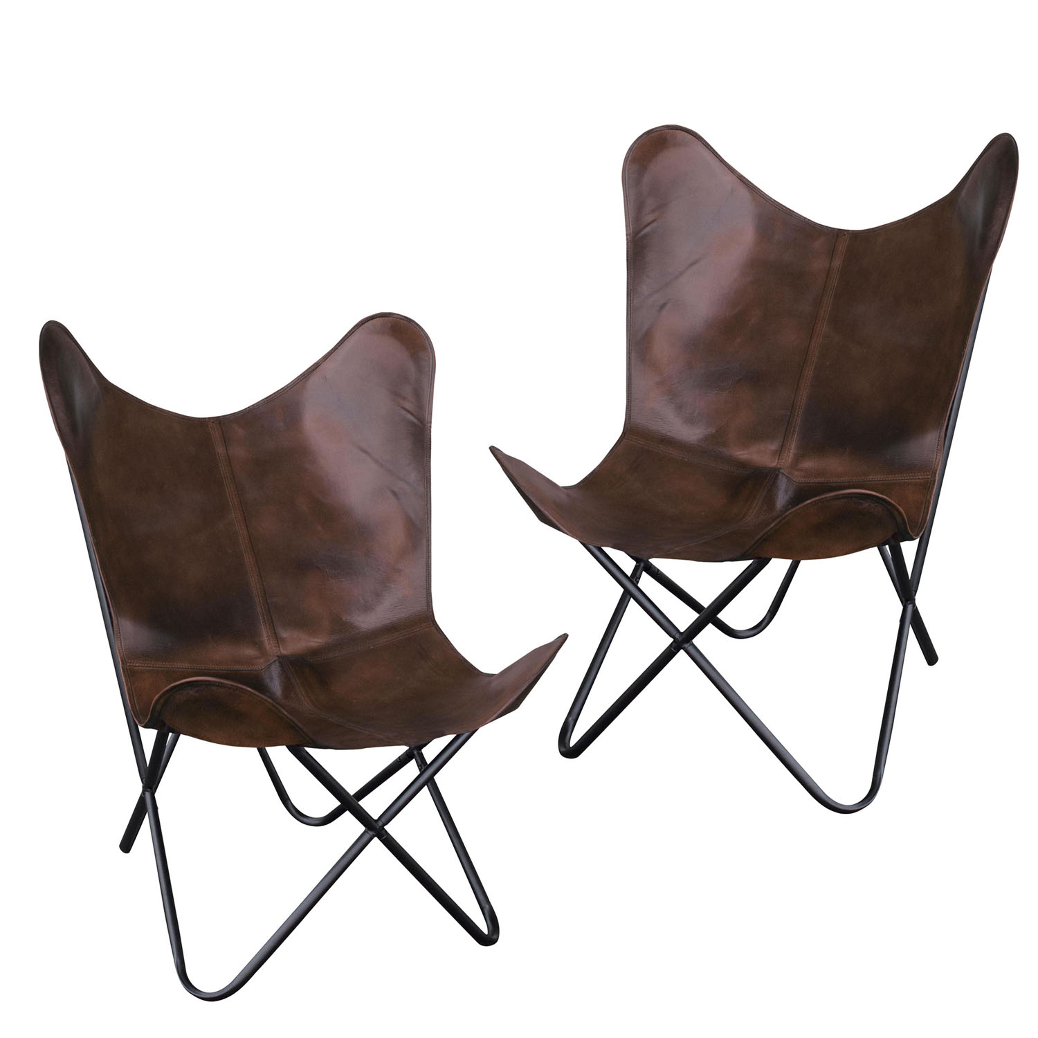 Natural Leather Butterfly Chair in Brown, 2 Piece Set