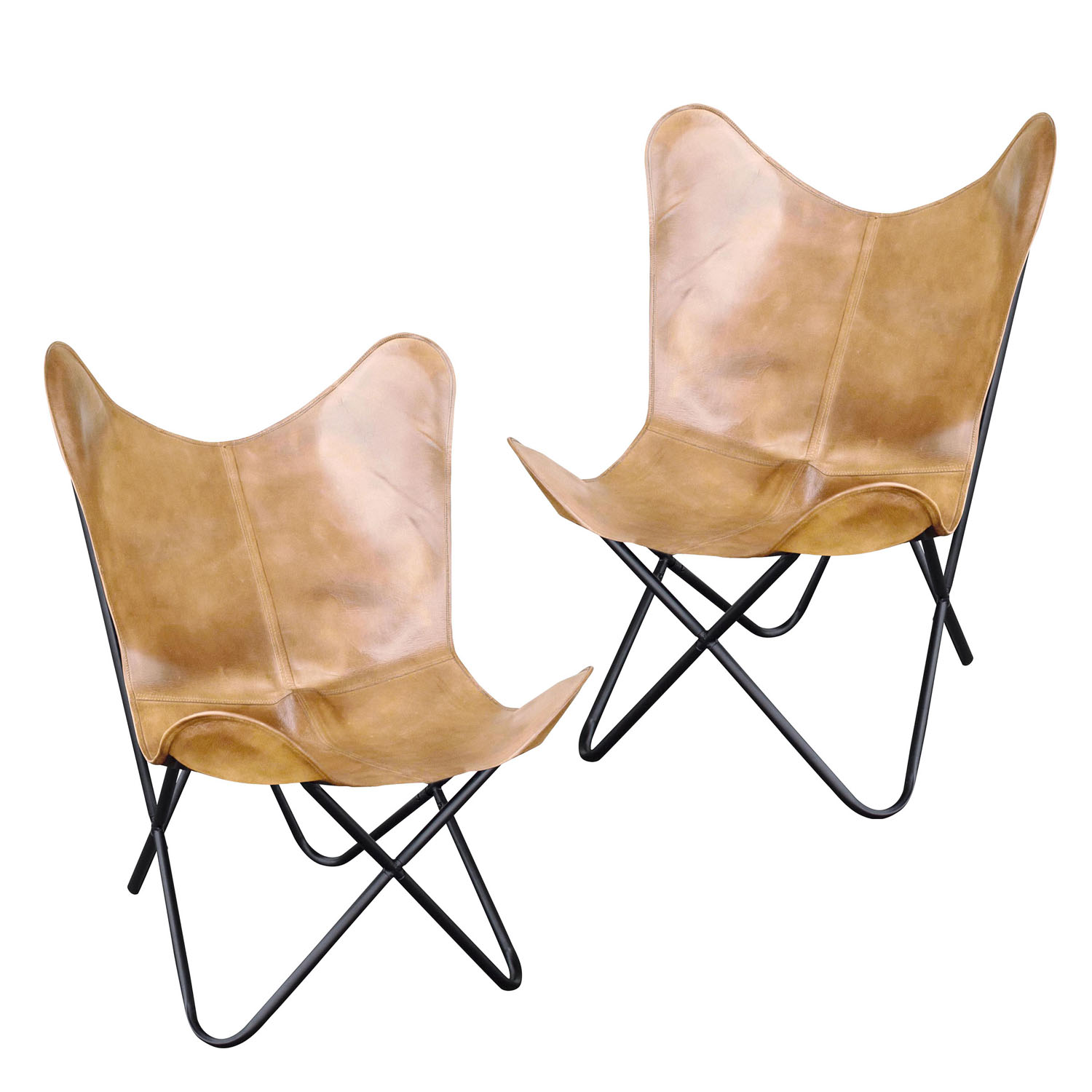 Natural Leather Butterfly Chair in Light Tan, 2 Piece Set