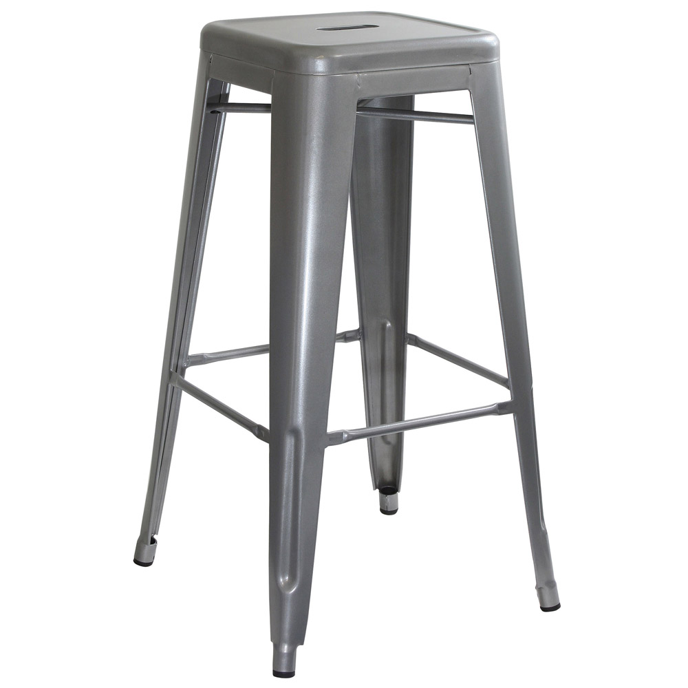 AmeriHome Loft Silver Metal Bar Stool