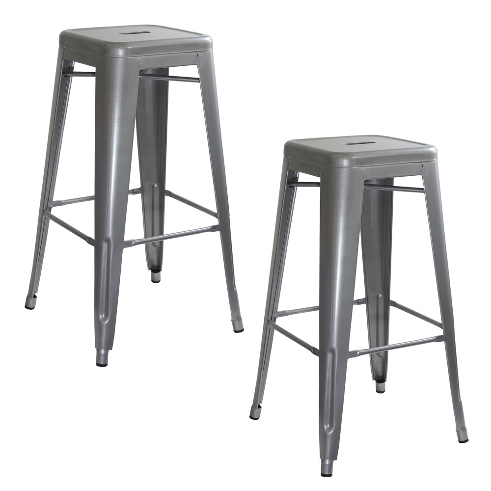 AmeriHome Loft Silver Metal Bar Stool - 2 Piece
