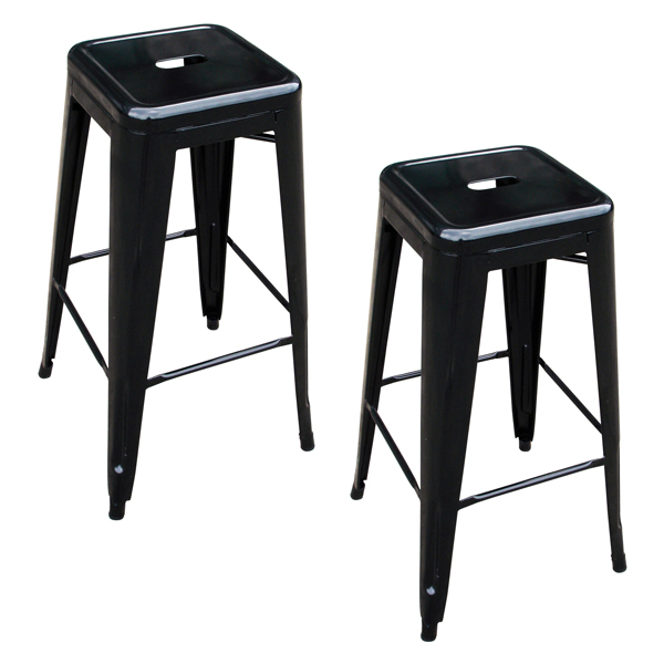2 Piece Loft Metal Bar Stool, Black