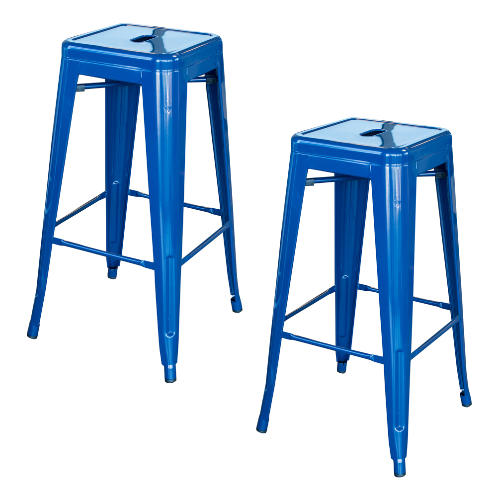 Loft Blue 30 in. Metal Bar Stool 2 Piece
