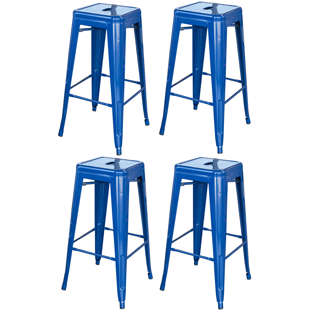 Loft Blue 30 in. Metal Bar Stool 4 Piece