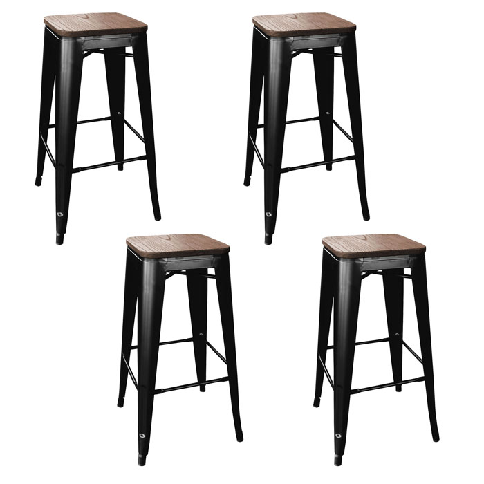 Loft Black Metal Bar Stool with Wood Seat- 4 Piece
