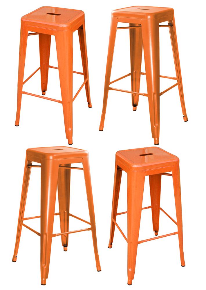 AmeriHome Loft Orange Metal Bar Stool - 4 Piece