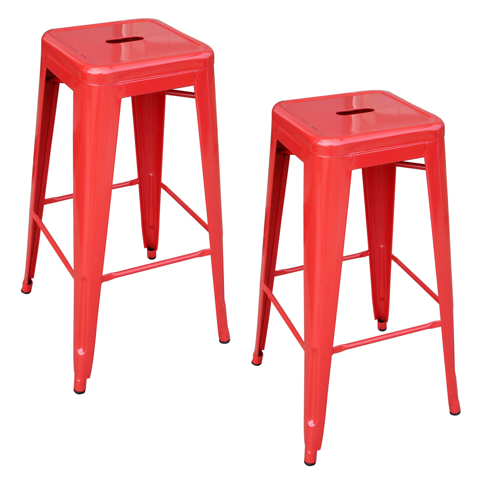 AmeriHome Loft Red Metal Bar Stool - 2 Piece