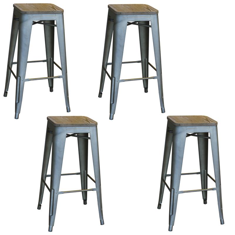 AmeriHome Loft Rustic Gunmetal Metal Bar Stool with Wood Seat- 4 Piece