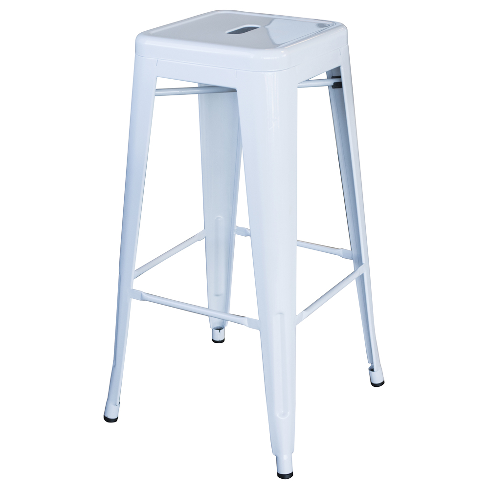 Loft White 30 in. Metal Bar Stool