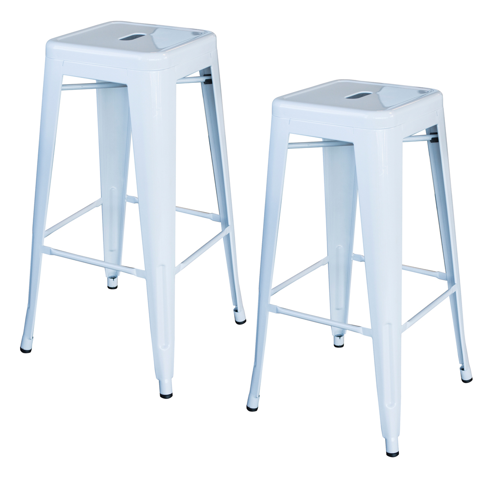 Loft White 30 in. Metal Bar Stool 2 Piece