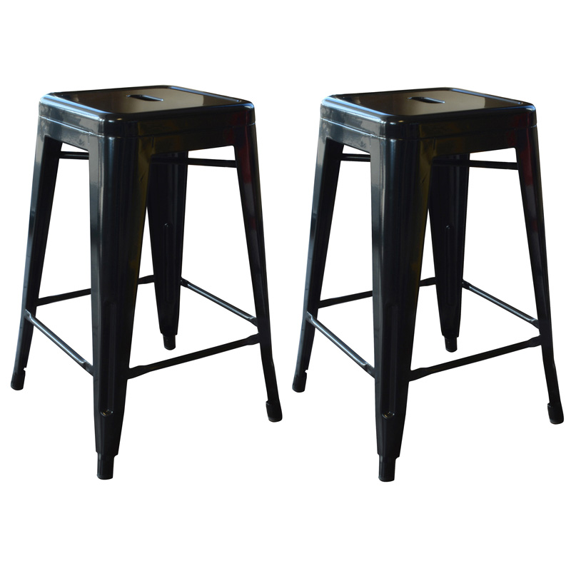 "AmeriHome 24"" Metal Bar Stool, Set of 2, Black"