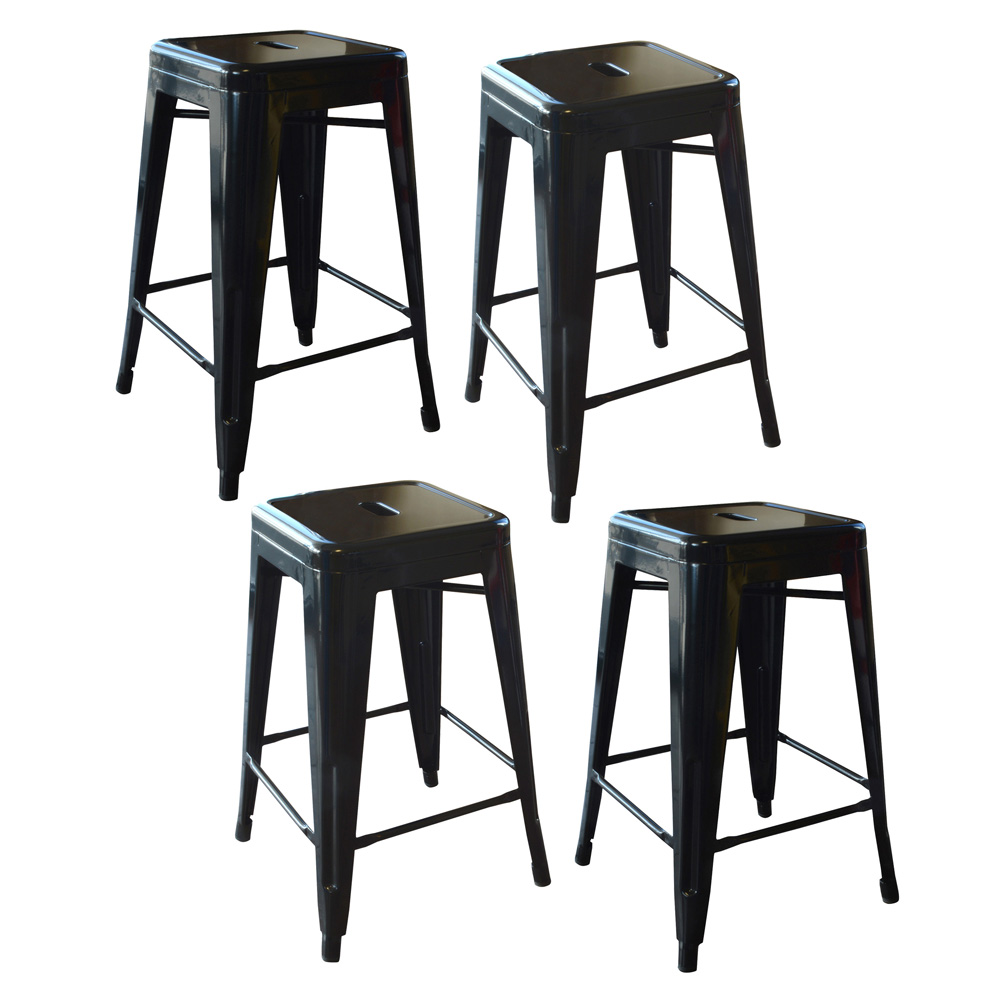 AmeriHome Loft Black 24 Inch Metal Bar Stool - 4 Piece