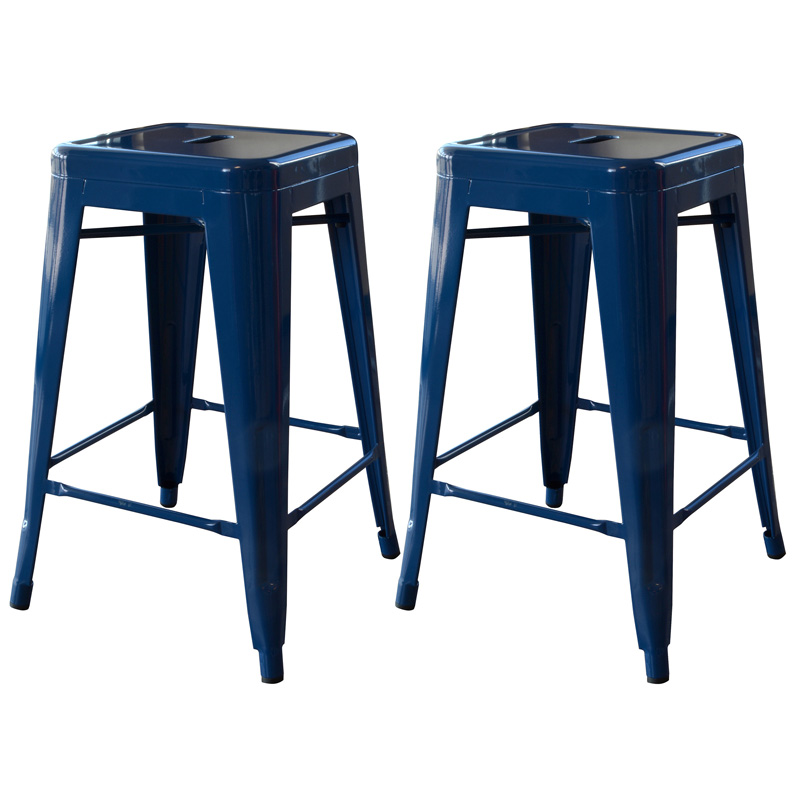 "AmeriHome 24"" Metal Bar Stool, Set of 2, Blue"