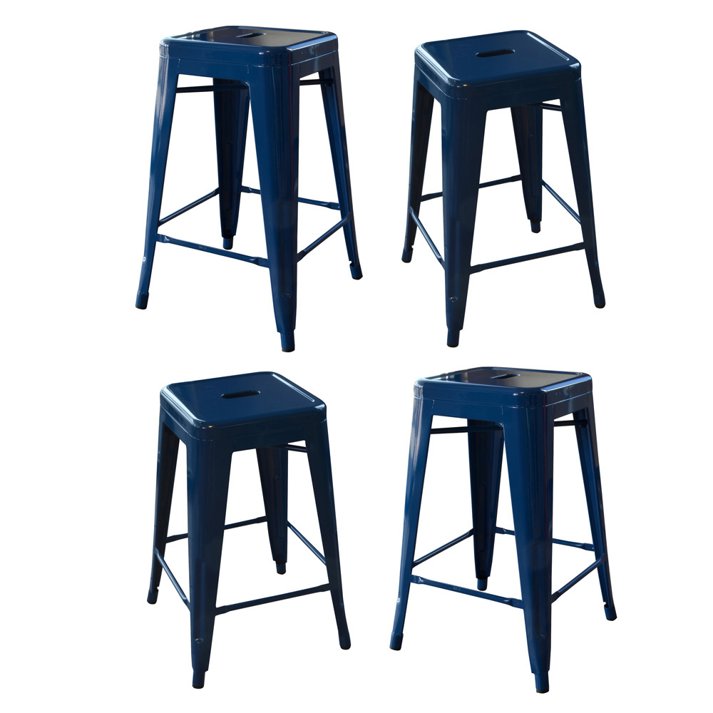 AmeriHome Loft Blue 24 Inch Metal Bar Stool - 4 Piece